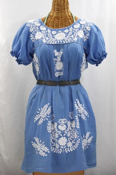 """La Mariposa Corta"" Embroidered Mexican Dress - Light Blue"
