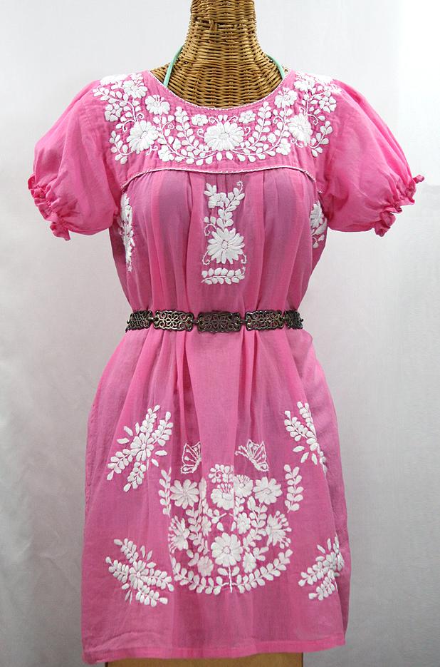 """La Mariposa Corta"" Embroidered Mexican Dress - Bubblegum PInk"