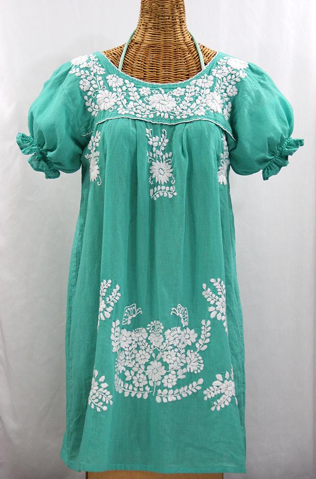 """La Mariposa Corta"" Embroidered Mexican Dress - Mint Green"