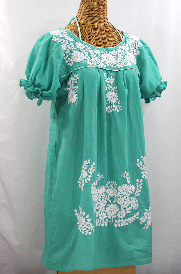 """La Mariposa Corta"" Embroidered Mexican Dress - Mint Green"