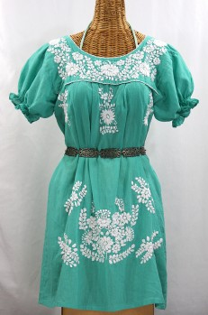 "Final Sale 60% Off -- ""La Mariposa Corta"" Embroidered Mexican Dress - Mint Green"