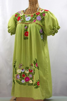 """La Mariposa Corta"" Embroidered Mexican Dress - Moss Green + Multi"