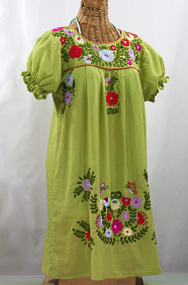 """La Mariposa Corta"" Embroidered Mexican Dress - Moss Green + Multi"