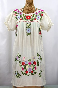 """La Mariposa Corta"" Embroidered Mexican Dress - Off White + Multi"