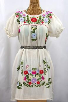 """""""La Mariposa Corta"""" Embroidered Mexican Dress - Off White + Multi"""