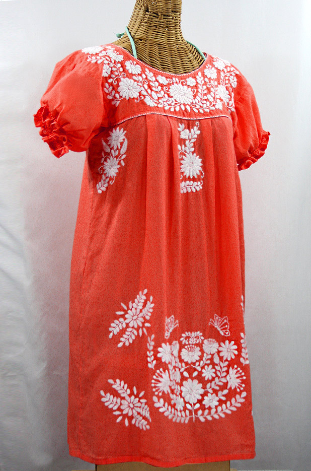 """La Mariposa Corta"" Embroidered Mexican Dress - Orange + White"