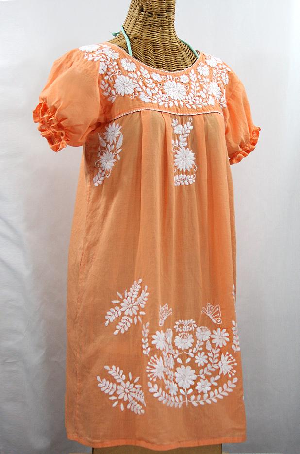 """""""La Mariposa Corta"""" Embroidered Mexican Dress - Orange Cream"""