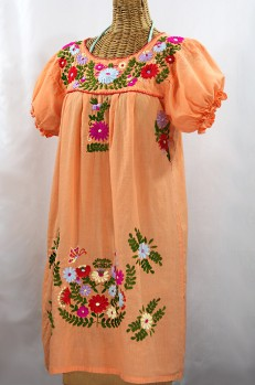 """La Mariposa Corta"" Embroidered Mexican Dress - Orange Cream + Multi"
