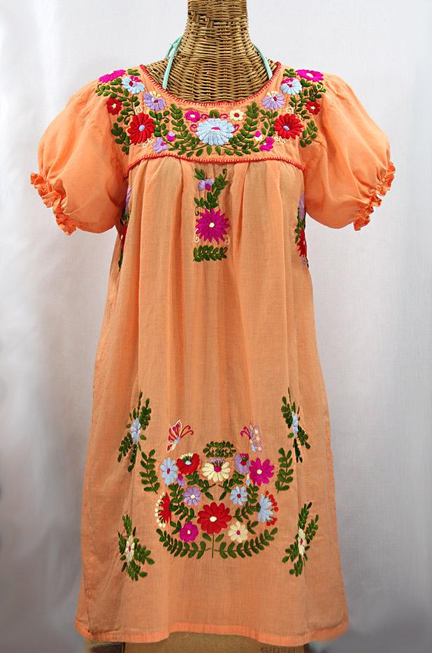 """""""La Mariposa Corta"""" Embroidered Mexican Dress - Orange Cream + Multi"""