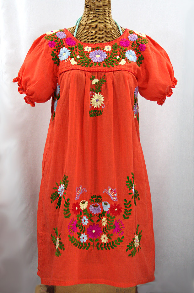 """La Mariposa Corta"" Embroidered Mexican Dress - Orange + Multi"