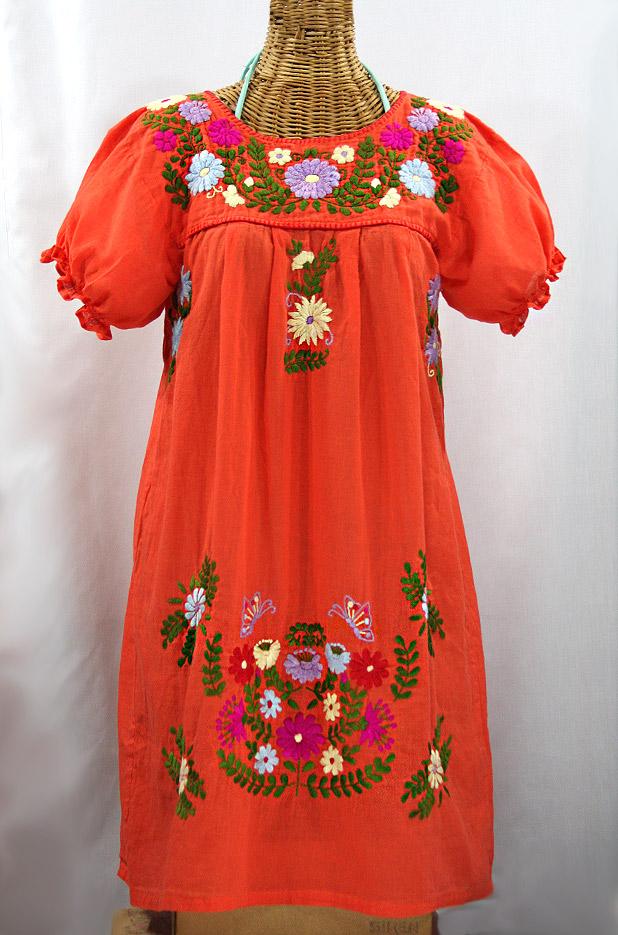 """FINAL SALE -- """"La Mariposa Corta"""" Embroidered Mexican Dress - Orange + Multi"""