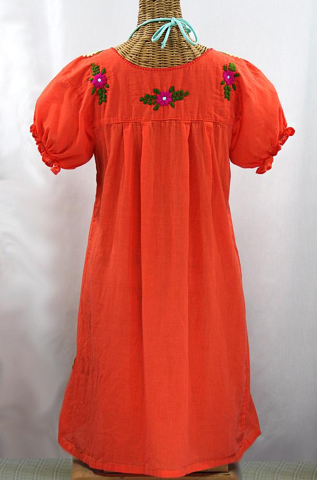 """""""La Mariposa Corta"""" Embroidered Mexican Dress - Orange + Multi"""