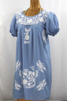 """La Mariposa Corta"" Embroidered Mexican Dress - Periwinkle"