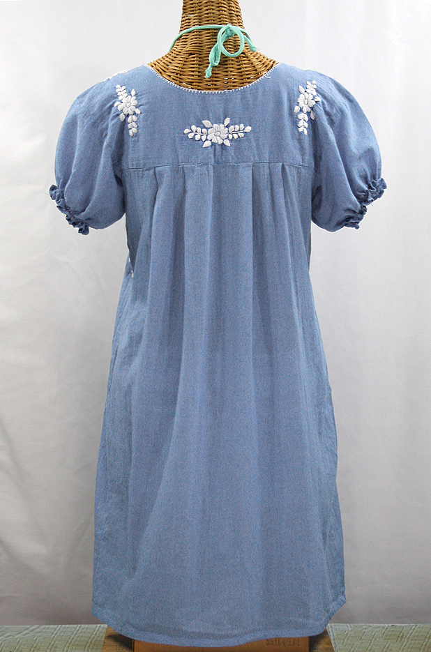 """La Mariposa Corta"" Embroidered Mexican Dress - Periwinkle"