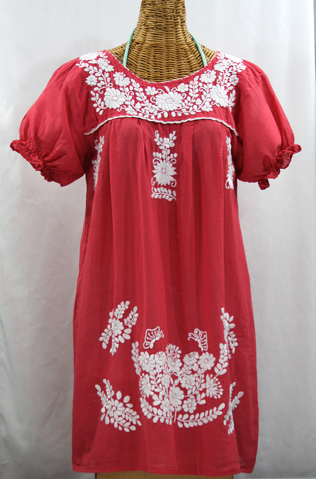 """""""La Mariposa Corta"""" Embroidered Mexican Dress - Tomato Red"""