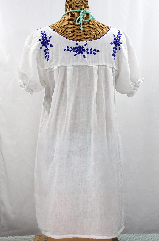 """""""La Mariposa Corta"""" Embroidered Mexican Dress - White + Blue"""