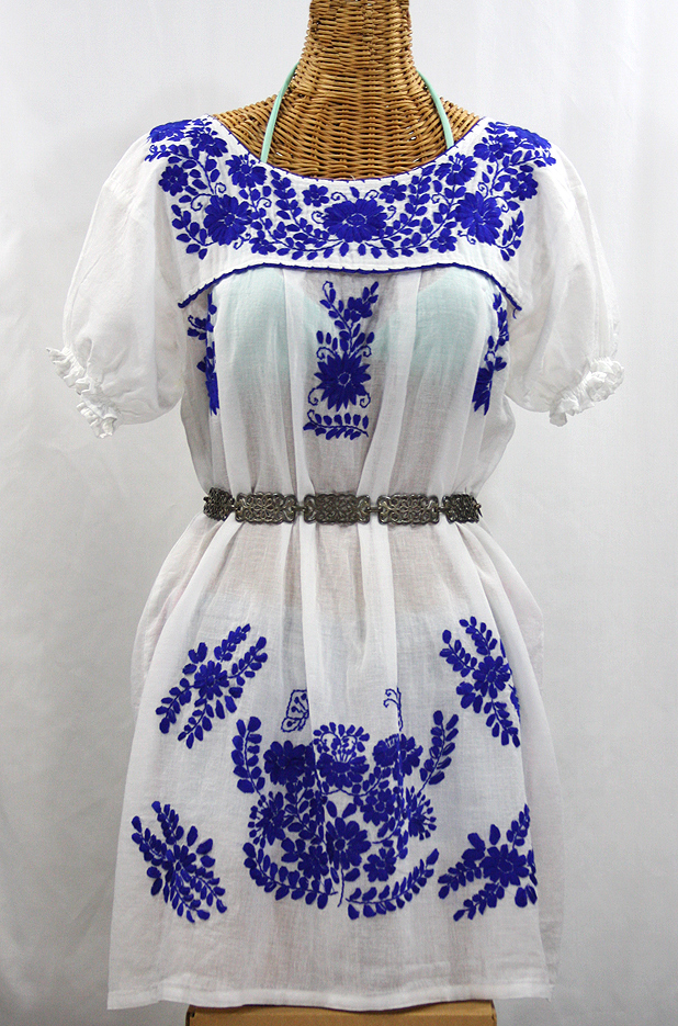 La Mariposa Corta Embroidered Mexican Dress White Blue