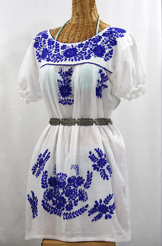 """La Mariposa Corta"" Embroidered Mexican Dress - White + Blue"