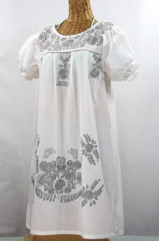 "60% Off Final Sale ""La Mariposa Corta"" Embroidered Mexican Dress - White + Grey"