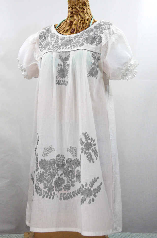 """La Mariposa Corta"" Embroidered Mexican Dress - White + Grey"
