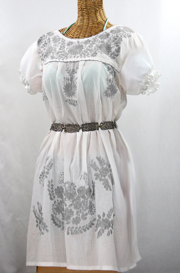 "60% Off Final Sale ""La Mariposa Corta"" Embroidered Mexican Dress - White + Grey"