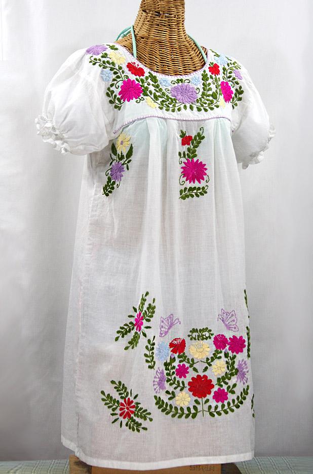 """""""La Mariposa Corta"""" Embroidered Mexican Dress - White + Multi"""
