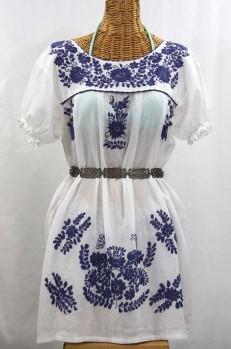 """La Mariposa Corta"" Embroidered Mexican Dress - White + Navy"