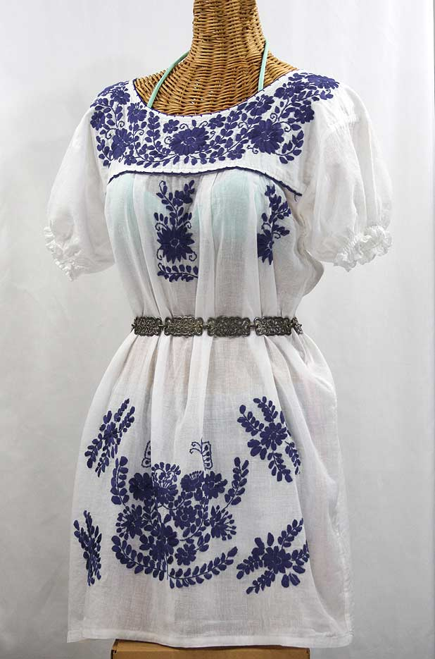 """La Mariposa Corta"" Embroidered Mexican Dress - White + Navy"