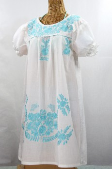 """La Mariposa Corta"" Embroidered Mexican Dress - White + Neon Blue"