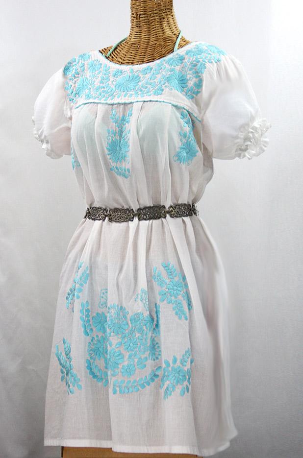"""""""La Mariposa Corta"""" Embroidered Mexican Dress - White + Neon Blue"""
