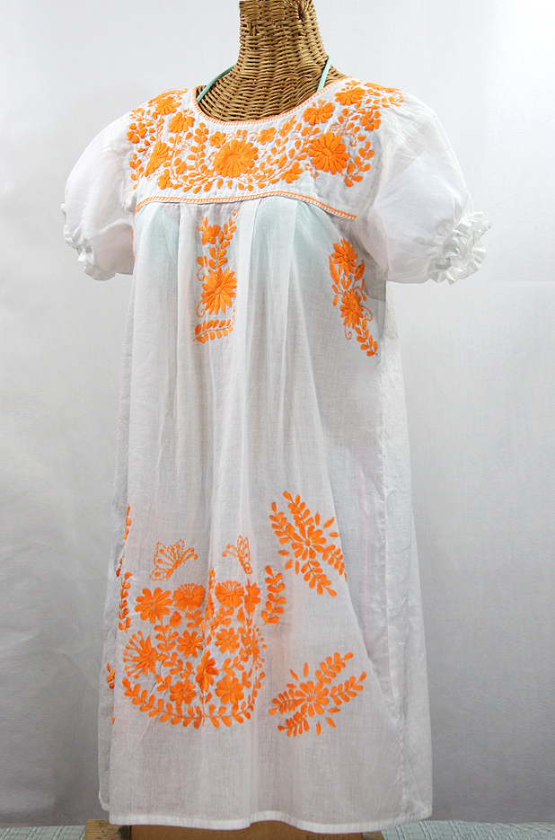 "Final Sale 60% Off -- ""La Mariposa Corta"" Embroidered Mexican Dress - White + Neon Orange"