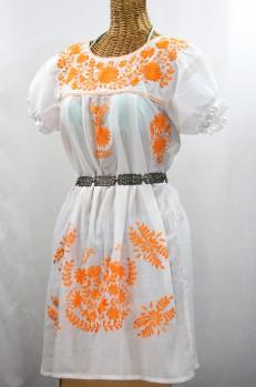 """Final Sale 60% Off -- """"La Mariposa Corta"""" Embroidered Mexican Dress - White + Neon Orange"""