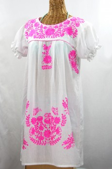 "60% Off Final Sale ""La Mariposa Corta"" Embroidered Mexican Dress - White + Neon Pink"