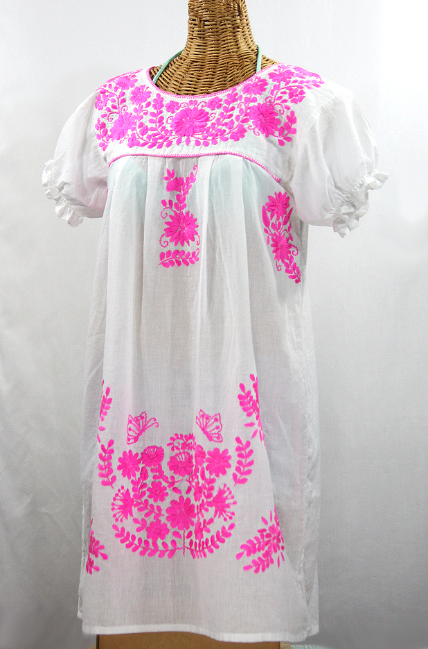 """La Mariposa Corta"" Embroidered Mexican Dress - White + Neon Pink"
