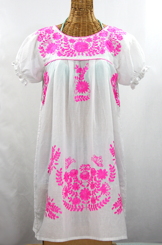 "Final Sale 60% Off -- ""La Mariposa Corta"" Embroidered Mexican Dress - White + Neon Pink"