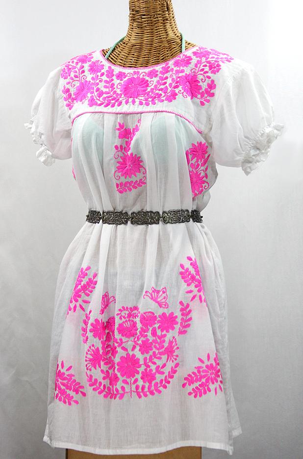 """La Mariposa Corta"" Embroidered Mexican Dress - White + Neon Pink"