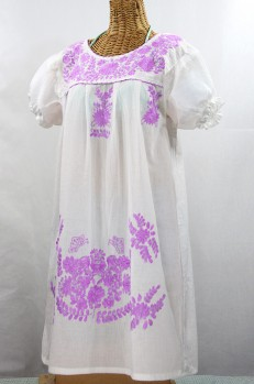 "Final Sale 60% Off -- ""La Mariposa Corta"" Embroidered Mexican Dress - White + Purple"