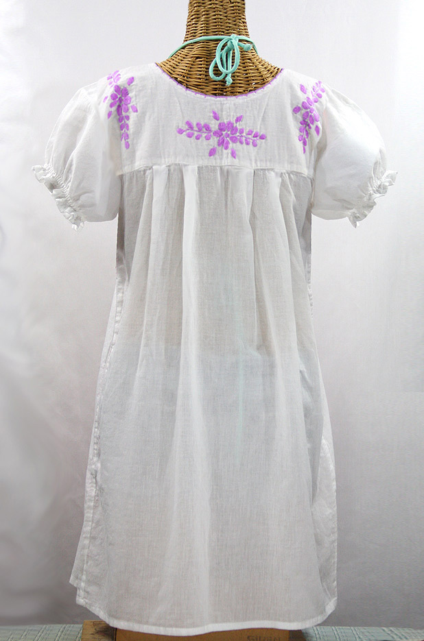 """Final Sale 60% Off -- """"La Mariposa Corta"""" Embroidered Mexican Dress - White + Purple"""