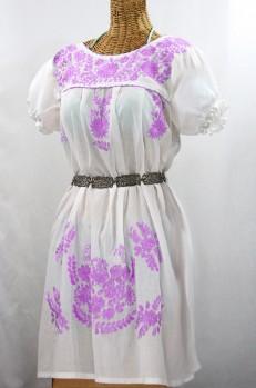 """60% Off Final Sale """"La Mariposa Corta"""" Embroidered Mexican Dress - White + Purple"""