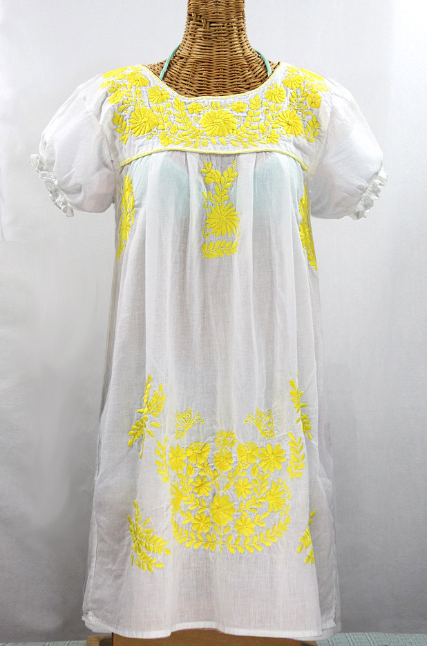 """La Mariposa Corta"" Embroidered Mexican Dress - White + Yellow"