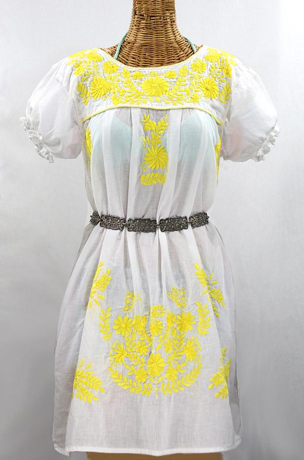 "60% Off Final Sale ""La Mariposa Corta"" Embroidered Mexican Dress - White + Yellow"