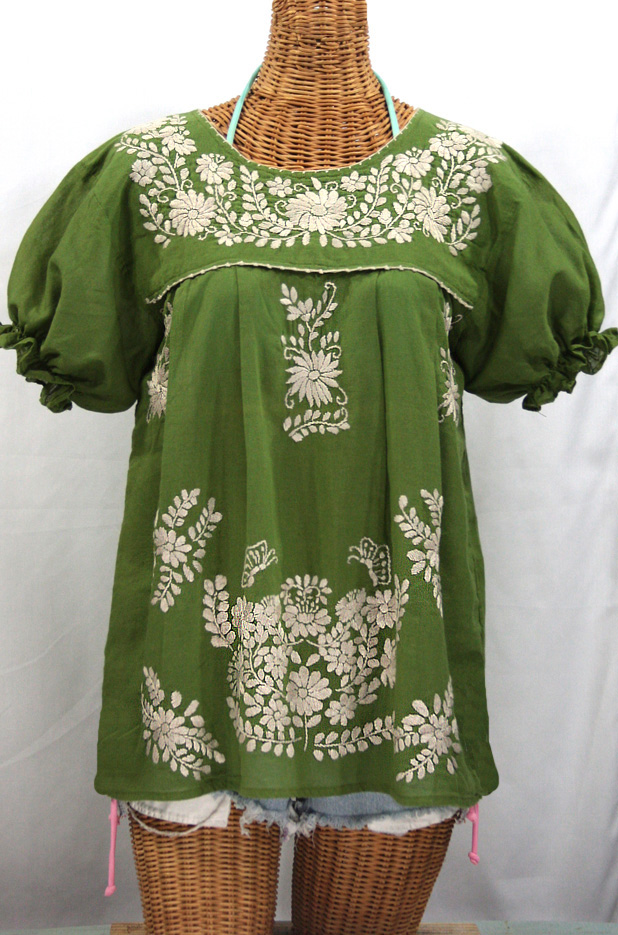"""La Mariposa Corta"" Embroidered Mexican Style Peasant Top - Fern Green + Cream"