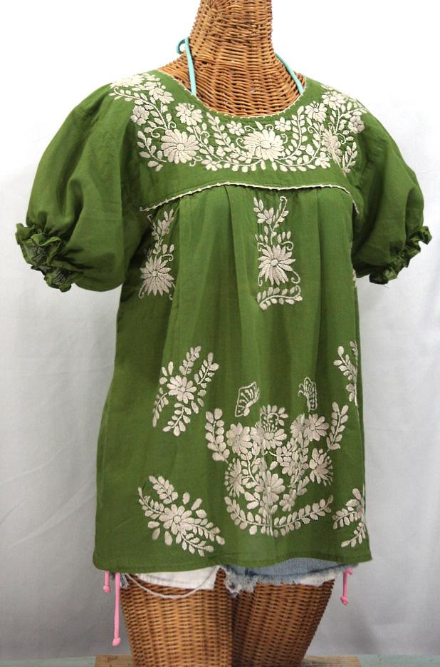 """La Mariposa Corta"" Embroidered Mexican Style Peasant Top - Fern Green + Cream"