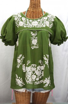 """La Mariposa Corta"" Embroidered Mexican Style Peasant Top - Fern Green + White"