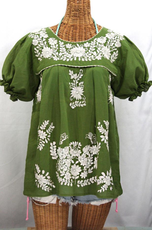 """La Mariposa Corta"" Embroidered Mexican Style Peasant Top - Fern Green + White"