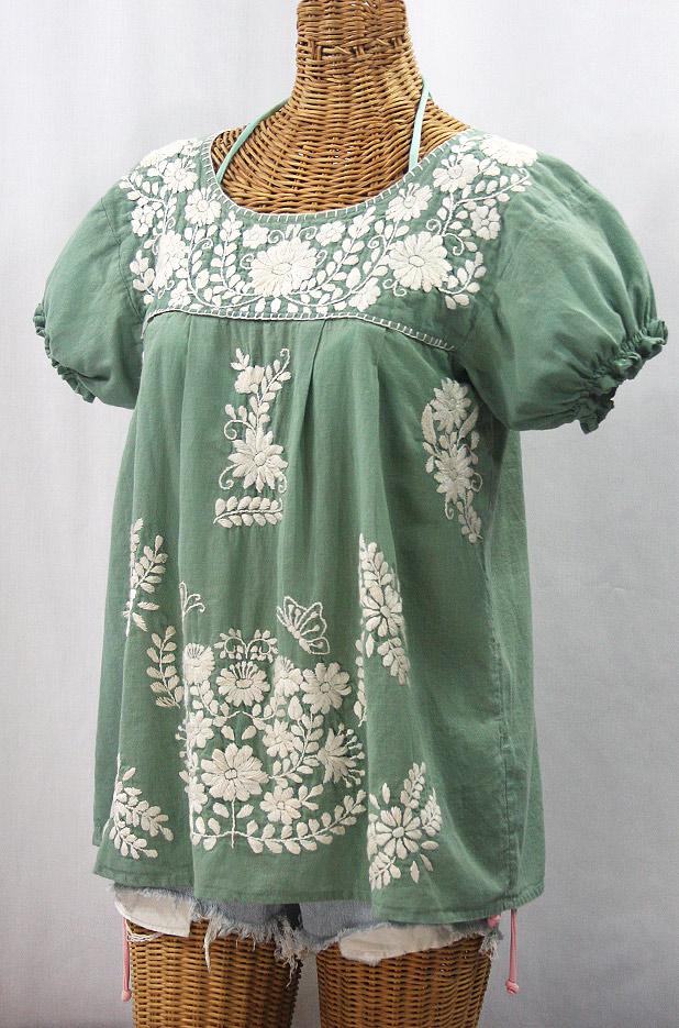 """""""La Mariposa Corta de Color"""" Embroidered Mexican Blouse - Sage Green + Cream"""