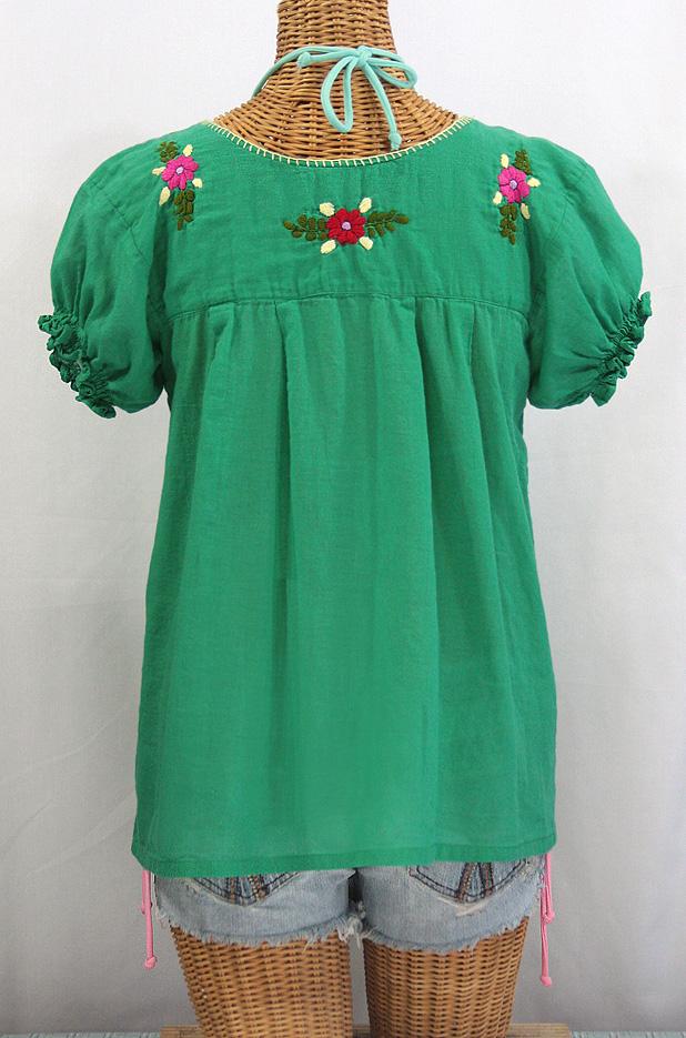 """""""La Mariposa Corta de Color"""" Embroidered Mexican Peasant Blouse - Green"""