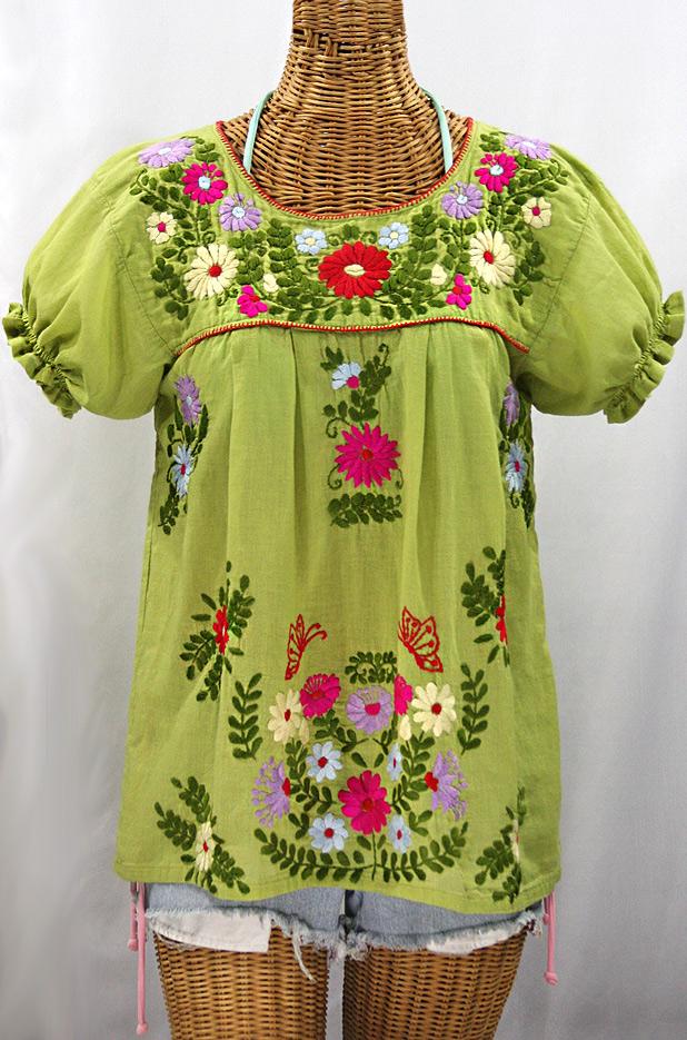 """""""La Mariposa Corta de Color"""" Embroidered Mexican Blouse - Moss Green + Multi"""