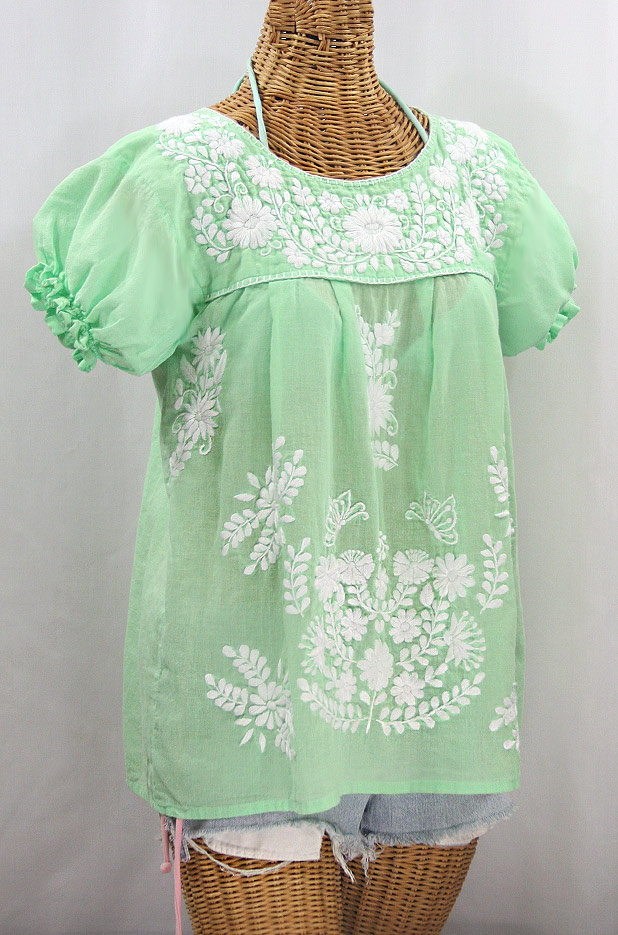 """La Mariposa Corta"" Embroidered Mexican Style Peasant Top - Pale Green + White"