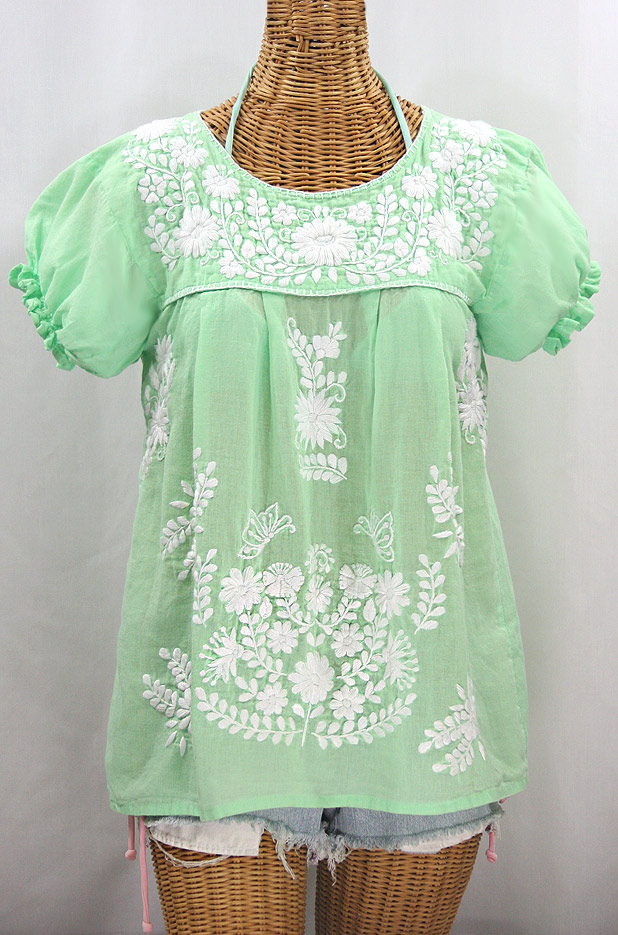 """La Mariposa Corta"" Embroidered Mexican Style Peasant Top - Pale Green + White"